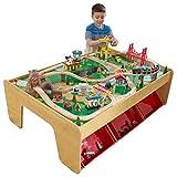 KidKraft Montagne cascade 17850 Ensemble Table Circuit de Train en bois Waterfall Mountain pour enfant avec accessoires inclus (120 pièces), Coloris naturel