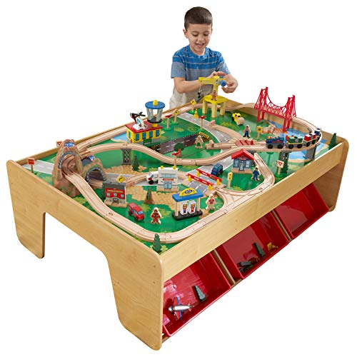 KidKraft Waterfall Mountain Wooden Train Set & Table with 120 Pieces, 3 Storage Bins, Gift for ages...