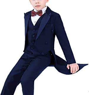 Boys Vintage Tailcoat Flower Boys Suits Piano Performance Costume