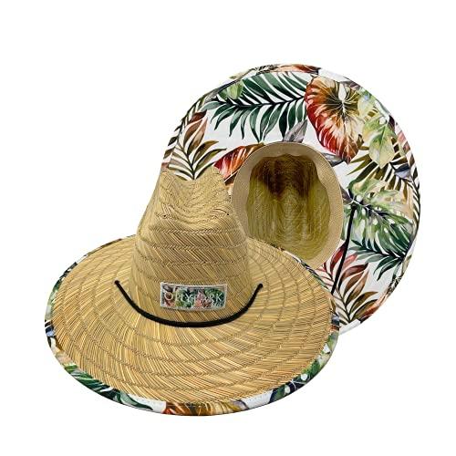 Lifeguard Beach Sun Straw Hat for Men & Women, 15 Patterns UPF50+ 4 Sizes (S-XL)
