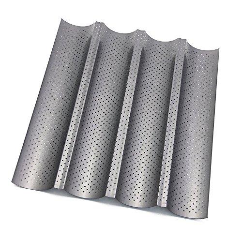 Bandeja para Hornear HTINAC, Antiadherente Perforada Francés Pan para hacer Galletas Bandeja para Hornear Pan 4 Barras Wave Baker