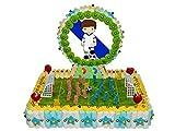 Original Tarta Decorativa de Golosinas Surtidas Campo de Fútbol con Oblea de Jugador Blanco y Azul
