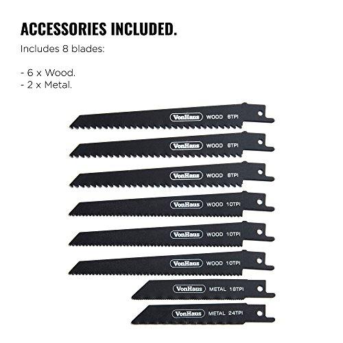 VonHaus Scie Sabre 1050 W avec 8 lames de rechange — 2 lames à métal et 6 lames à bois — Vitesse de coupe réglable