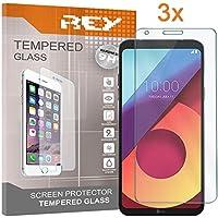 REY 3X Protector de Pantalla para LG Q6 / Q6 Alpha / Q6 Plus, Cristal Vidrio Templado Premium