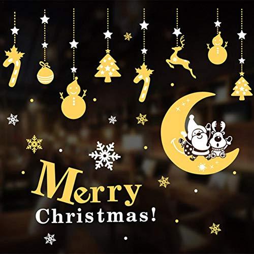 Nuevas calcomanías de ventanas navideñas, calcomanías decoración DIY puerta de pared mural copo de nieve de vidrio, muñeco de nieve, Papá Noel, árbol de Navidad para hogar restaurante escaparates