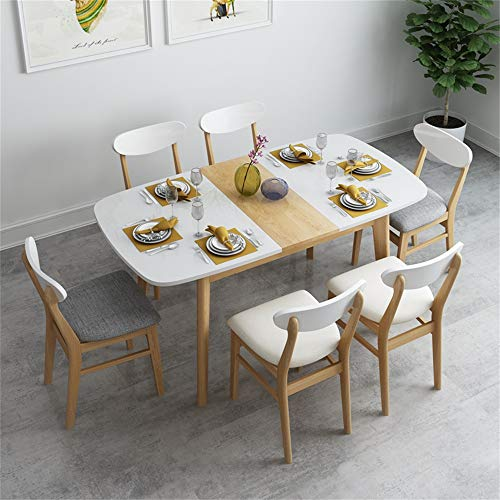 ZRRtables Mesa De Comedor Plegable Juego De Mesa De Cocina con 6 Sillas Mesa Y Sillas De Madera Juego De Mesa Y Sillas De Cocina para 6 Personas