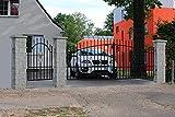 Puerta de entrada Hoftor, puerta de doble hoja Bellevue, 350 x 150 cm, con puerta de 94 cm y postes de piedra