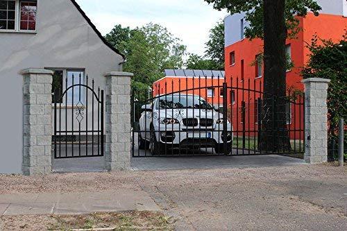 Einfahrtstor Hoftor Doppelflügeltor Bellevue 350 x 150 cm, mit Pforte 94 cm und Steinpfosten