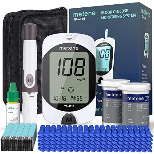 Metene TD-4116 Blood Glucose Monitor Kit, 100 Glucometer Strips, 100 Lancets, 1 Blood Sugar Monitor, Blood Sugar Test Kit with Control Solution, Lancing Device, Coding-free Meter, Large Display