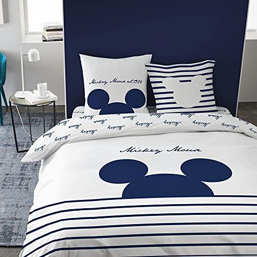 Disney Mickey Lines Marine, Bettbezug und Kissenbezüge, bedruckt, 100 % Baumwolle.