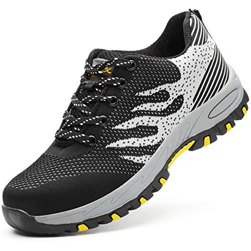 GUFANSI Zapatos de seguridad, ligeros, Kevlar, para hombres y mujeres, zapatos de trabajo, puntera de acero, transpirables, zapatillas de proteccion, Negro y Gris, 43 EU 🔥