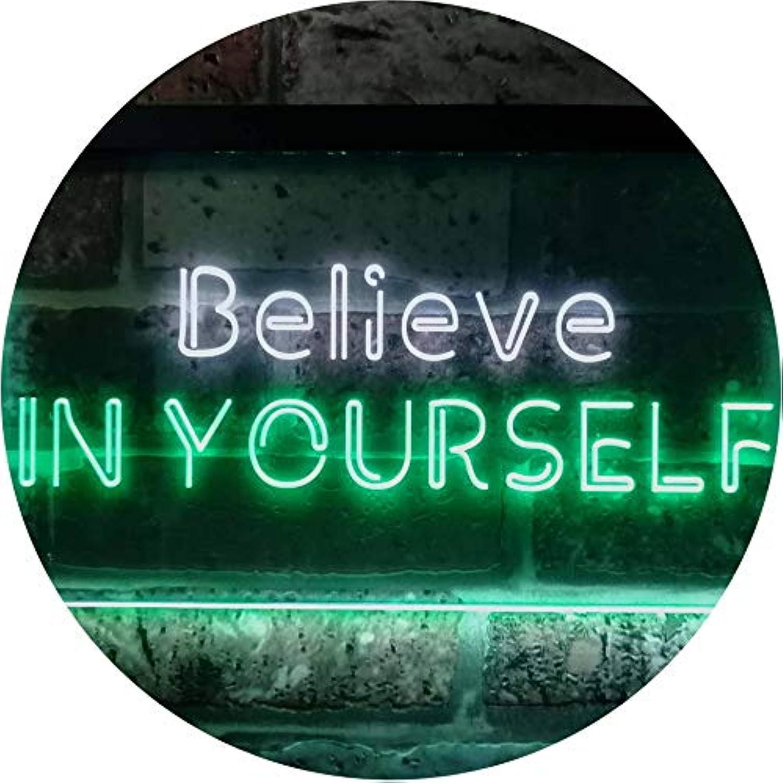 ADVPRO Believe In Yourself Bedroom Home Room Décor Dual Farbe LED Barlicht Neonlicht Lichtwerbung Neon Sign Weiß & Grün 400mm x 300mm st6s43-i3198-wg