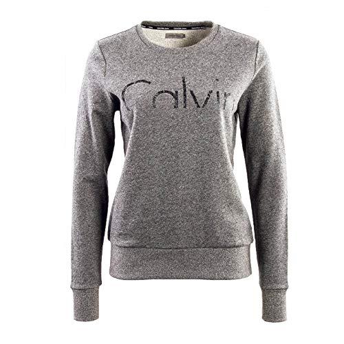 Calvin Klein Jeans Hadar CK Logo Cn LS Sudadera, Negro (Black Heather 901), Medium para Mujer
