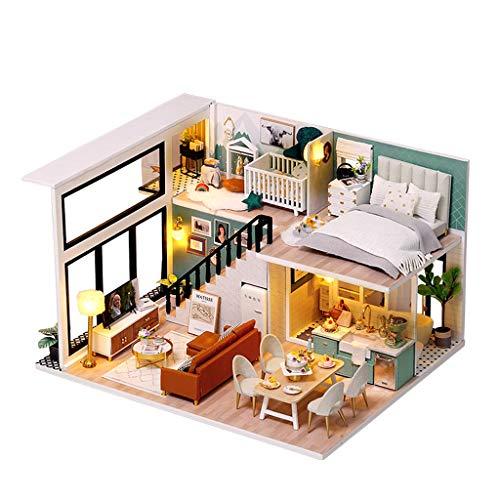 NHK-MX DIY de Madera Kit de casa de muñecas en Miniatura Los 24.5X20.5X15cm Montado a Mano Modelo de construcción con música, Luces, guardapolvo