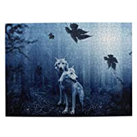 オオカミ 森 500ピース ジグソーパズル ピクチュアパズル 木製の風景パズル、人物 動物 風景 漫画絵のパズル 大人の子供のおもちゃ家の装飾風景パズル Puzzle 52.2x38.5cm