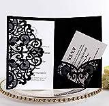 BLUGUL 10pcs Tarjeta de invitación de Boda, Invitaciones de Boda, Hollow Floral Design, con 2 Tarjetas en Blanco, Negro