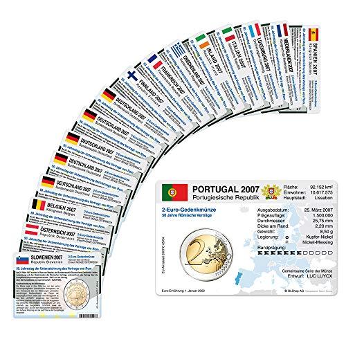 Set - alle Münzkarten (ohne Münze) für 2-Euro Gemeinschaftsmünzen Römische Verträge 2007 17 Münzkarten (13 Länder)