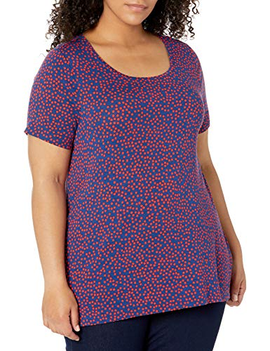 Amazon Essentials Camiseta de Manga Corta con Cuello Redondo-Tallas, Punto Rojo Marino, XL Grande