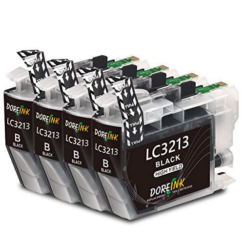DOREINK LC3213 Druckerpatronen Kompatibel für Brother LC3213 LC-3213 LC3211 Patronen für Brother DCP-J572DW MFC-J491DW MFC-J497DW MFC-J890DW DCP-J774DW MFC-J895DW (4 Schwarz)