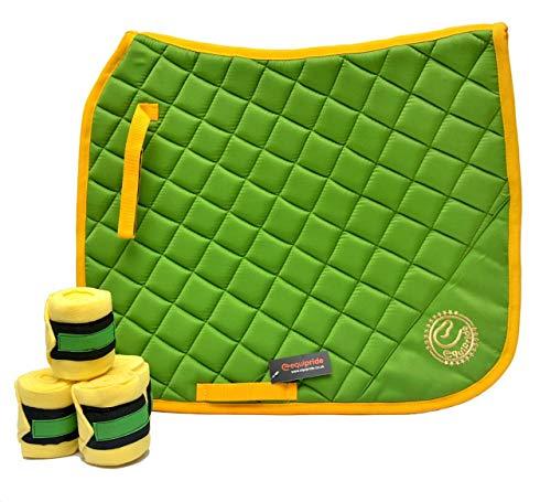 Equipride - Set di sottosella da dressage con velo e bende abbinate, colore: Verde/Giallo (completo/Pannocchia)