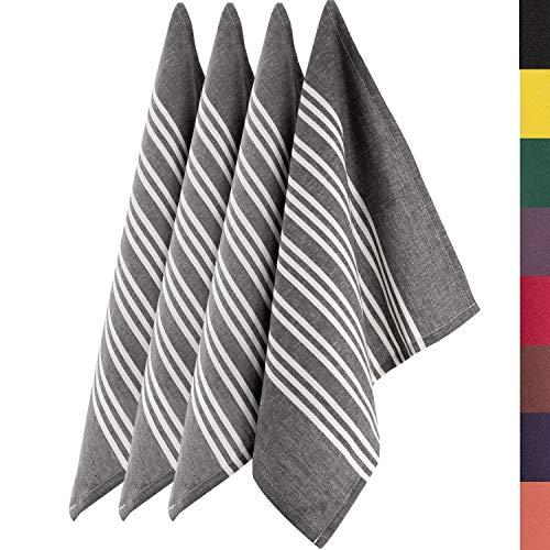 Sidorenko 4 Set Geschirrtücher aus Baumwolle - 45x75cm grau weiß gestreift - Hochwertiges Handtuch für die Küche - Premium Küchenhandtücher - Geschirrhandtücher zum Abtrocknen