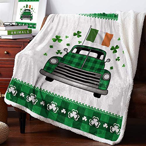 AEMAPE Manta de Tiro - Lucky St. Patrick's Day Green Plaid Truck Bandera Irlandesa con Shamrock Mullida Manta súper Suave Manta para sofá Cama 60 'x 50'