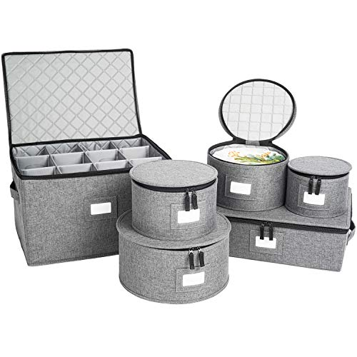 China Storage Set, Hard Shell and Stackable, for Dinnerware Storage and Transport, Protects Dishes Cups and Wine Glasses, Felt Plate Dividers Included (Grey - Stemware Storage Included)