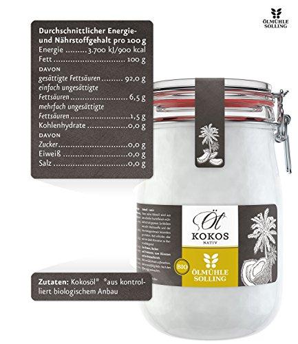 Ölmühle Solling Bio Kokosöl im Bügel-Glas 1000ml - 8