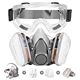 Respirator Mask,Half Facepiece Gas Mask with Safety Glasses Reusable Professional Breathing Protection Against...