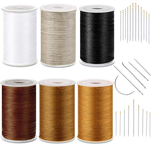6 Color Strong Upholstery Thread High Strength Sewing Waxed Threads with Hand Stitching Needles Set for Denim Leather Craft DIY and Machine Sewing (White, Black, Beige, Coffee, Caramel, Tea Dyed)