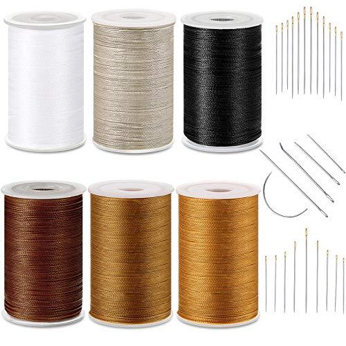 6 Colores Hilo Encerado Fuerte Hilo de Tapicería de Costura con Agujas...