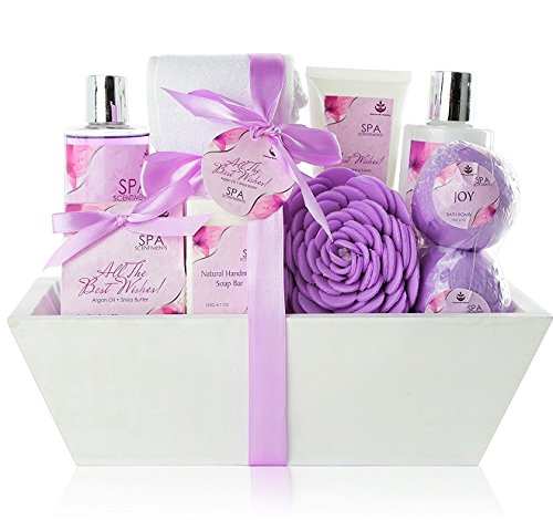 Premium Large Spa Basket,'All The Best Wishes' Gift Basket for Women. Bath & Body 10-Piece Gift Set....