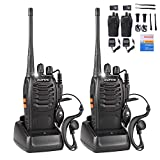 BaoFeng Walkie Talkies Rechargeable Long Range for Adults, UHF FRS/GMRS Two Way Radio with Earpieces 16 Channel Signal Band UHF 400-470MHz Li-ion Battery and Charger (2 Pack)