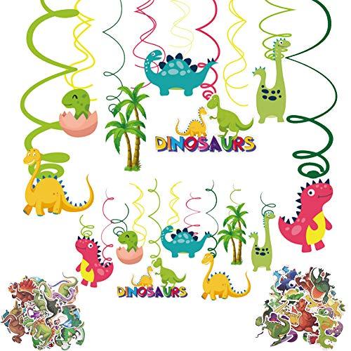 ZSWQ Kit de decoración de tema de dinosaurio Banner de feliz cumpleaños Dinosaurios Cumpleaños Colgar Decoraciones de Remolino Adornos de espirales y Dinosaurios Tatuajes temporales