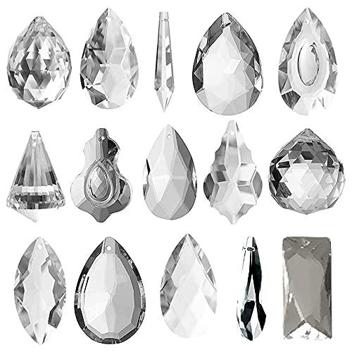 Swetup Juego de 15 colgantes de prisma de cristal para colgar en la lámpara de araña, casa, jardín, decoración de cristal