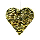 Andaz Press Gold Foil Fringe Piñata, 18-inch, Heart, 1-Pack, Wedding 25th 50th Anniversary Graduation New Years Eve 2018 2019 2020 Hanging Decorations