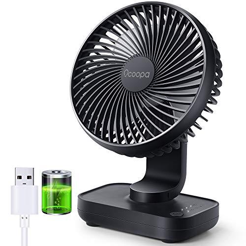 Ventilador de escritorio USB, ventilador de mesa con batería recargable de 4000 mAh, 4 velocidades, mini ventilador portátil de 5 pulgadas, flujo de aire fuerte, pantalla de electricidad, (azul)