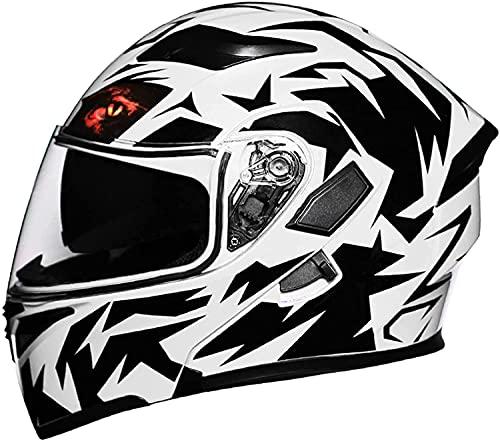 ZHANGYY VIIPOOCascos Motocicletas Modular Flip-Up Motorbike Helmets Flip Front Frontcycle Casco Cascos Cascos para Motos Casco Flip-Up Casco De Motocicleta,White-XL(60-61cm)