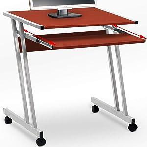 Tavolino Scrivania per computer con ripiano per tastiera estraibile e rotelle - Dimensioni 62 x 48 x 73 cm Color marrone