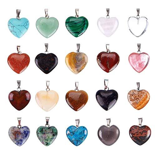 Nsiwem 20 Piezas Colgantes en Forma de Corazón Colgantes de Piedras Corazón Collar de Piedra Colgantes de Cristal Chacras para DIY hacer collares y joyas Varios Colores