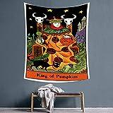 KDENDGGA King of Pumpkins Green Monster Tapestry Tapiz De Pared Dormitorio Sala De Estar Decoración del Hogar Tapiz 150 * 200Cm