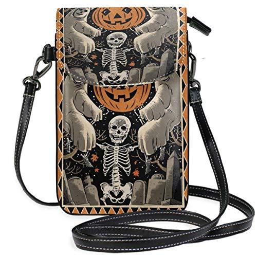 XCNGG Telefontasche Halloween Cell Phone Purse Wallet for Women Girl Small Crossbody Purse Bags