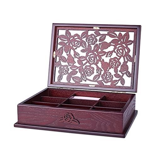 Caja de joyería tallada a mano de una sola capa, caja de joyería de estilo europeo, caja de almacenamiento de madera de gran capacidad con bloqueo, caja de almacenamiento de collar de pendiente de reg