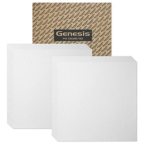 Genesis 2ft x 2ft White Stucco Pro Ceiling Tiles - Easy Drop-in Installation – Waterproof, Washable and Fire-Rated - High-Grade PVC to Prevent Breakage - Package of 12 Tiles