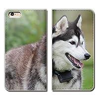AQUOS R6 A101SH ケース スマホケース 手帳型 ベルトなし 犬 いぬ ペット シベリアンハスキー 手帳ケース カバー バンドなし マグネット式 バンドレス EB291040118402