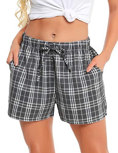 Vlazom Women's Pajama Bottoms 100% Cotton Sleeping Plaid Shorts Lounge Casual Pants for Yoga Gym Running