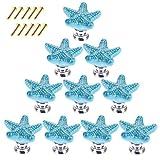 YAVSO Pomos y Tiradores, 10pcs Ceramica Pomos Armario Estrella de Mar Tiradores de Muebles para Cajones, Armario, Puertas, Alacena, Gabinete (Azul)