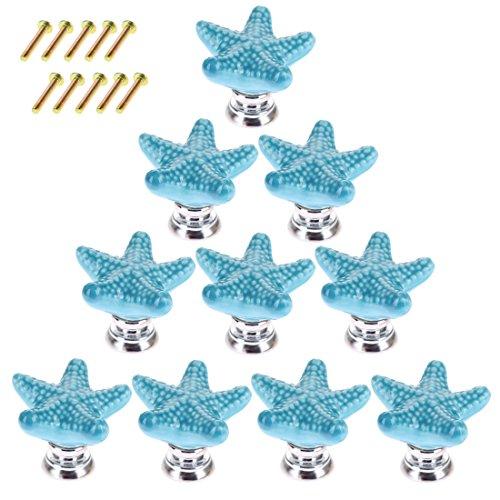 Foxom - Juego de 10 pomos de cerámica creativos de estrella de mar, para armario, armario, cajón, baño, decoración de habitación infantil (azul)