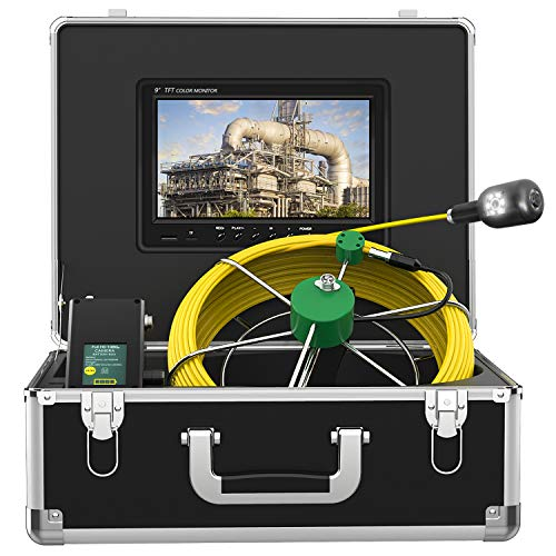 Pipe Inspection Camera, IP68 Drain Sewer Pipeline 17mm Industrial Endoscope 7inch HD Monitor Plumbing Snake 1000 TVL Camera System Support WiFi with Waterproof 8pcs LED Lights(100ft/30m)