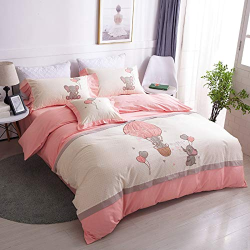 yaonuli Children's Cotton Four-Piece Cartoon Cotton Student Dormitory Bed Linen Quilt Cute pet small Elephant Application Bed 1.5M-1.8M